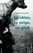 Le chien, la neige, un pied
